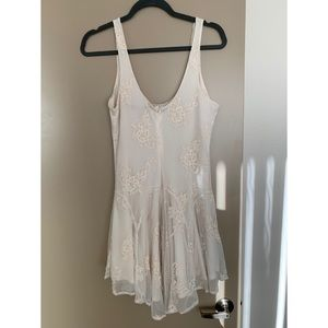 Dresses - Mesh Ivory Dress with Lace Design